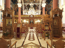 Inside an orthodox church. The interior of an othodox church royalty free stock photos