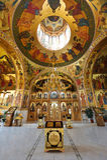 Inside orthodox monastery. Altar and roof paintings inside orthodox monastery (Curchi Monastery), Orhei, Moldova, Europe Stock Photo