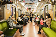 Inside the Osaka subway train Royalty Free Stock Photography
