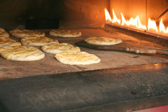 Inside of oven  fireplace  at a bakery Royalty Free Stock Photos