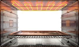Inside The oven. A view from inside a hot operational household oven looking out the open door with an empty tanished baking tray inside - 3D render Royalty Free Stock Images