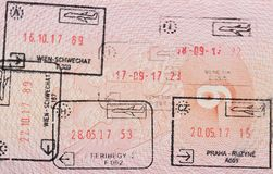 Inside page of a well traveled russian passport with stamps from different european customs: Hungary, italy, Austria, Czech Republ. Ic royalty free stock photos