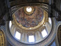 Inside of the painted and decorated dome of the church of Saint Agnese in Agone in Rome, Italy. Travel destination. Spirituality and religion. Masterpiece of royalty free stock photo