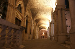 Inside of the Palladian Basilica an historic building in Vicenza. City by night Stock Images
