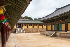 Inside panorama of Korean buddhistic Bulguksa Temple with many lanterns to celebrate buddhas birthday on a clear day. Located in royalty free stock images