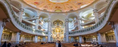 Inside panoramic view of dome of the Frauenkirche church in Dresden, Germany, one of the top attractions in the city. Inside panoramic view of dome of the Stock Image