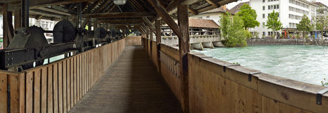 Inside panoramic view of wooden  bridge. Switzerland. Stock Photos