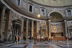 Inside the Pantheon - one of the most famous building in Rome, Italy stock image