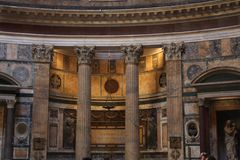 Inside the Pantheon - one of the most famous building in Rome, Italy Royalty Free Stock Photography