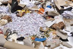 Inside of a paper recycling container. Close up inside of a paper recycling container Stock Photography