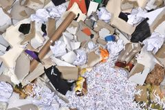 Of a paper recycling container. Inside of a paper recycling container Stock Image