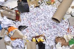 Of a paper recycling container. Inside of a paper recycling container Royalty Free Stock Image