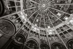 Inside Parma baptistery church in black and white. Inside Parma, Italy baptistery church in black and white Stock Image