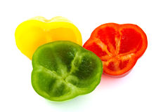 Inside part of fresh red, green and yellow peppers Royalty Free Stock Images