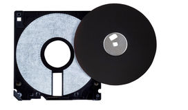 Inside parts of a computer diskette or floppy disk on white Royalty Free Stock Photography