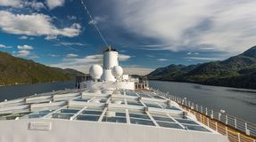 Inside Passage, BC, Canada - September 13, 2018: Exterior view of Magrodome glass roof, antenna and funnel of cruise stock images