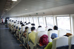 Inside passenger cabin of ship Stock Image