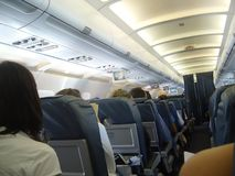 Inside passengers jet. Passengers jet seat rows detail royalty free stock photos