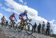 Inside the Peloton - Paris Roubaix 2016. Hornaing ,France - April 10,2016: Group of three cyclists riding in the peloton on a paved road in Hornaing, France Stock Image
