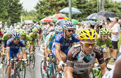 Inside The Peloton in a Rainy Day Royalty Free Stock Image