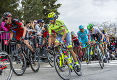 Inside the Peloton - Tour de Catalunya 2016. Barcelona, Spain - March27, 2016: The cyclists Tejay van Garderen of BMC Team and Alberto Contador of Tinkoff Team Stock Images