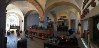 Inside the Pena Palace kitchen. The huge kitchen of the Pena Palace as seen from the inside Stock Image