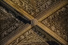 Inside of Pena Palace in Sintra, Lisbon district, Portugal. Old ceiling . Stock Photos