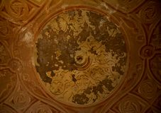 Inside of Pena Palace in Sintra, Lisbon district, Portugal. Old ceiling . Royalty Free Stock Images