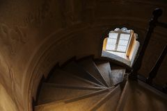 Inside of Pena Palace in Sintra, Lisbon district, Portugal. Spiral staircase . Royalty Free Stock Photo