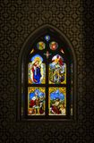 Inside of Pena Palace in Sintra, Lisbon district, Portugal. Stained Glass Window in Chapel. SINTRA, PORTUGAL - NOVEMBER 4, 2017 . Inside of Pena Palace in Royalty Free Stock Photography