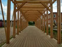 Inside perspective view of under construction wooden architecture royalty free stock images