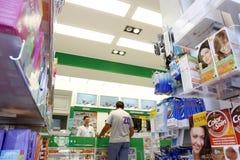 Inside a pharmacy shop stock photography