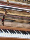 Inside of a piano with little hammer and strings Stock Image