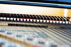 Inside of a piano mechanism Royalty Free Stock Photography