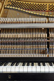Inside the piano: string, keys and hammers Royalty Free Stock Photos