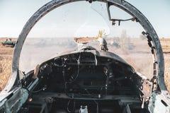 Free Inside Pilot Cabin Of L-29 Plane Broken Windshield Royalty Free Stock Images - 200234529