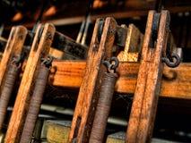 Inside Pipe Organ. Dusty inner workings of pipe organ Royalty Free Stock Images