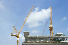Inside place for many tall buildings under construction and cran Royalty Free Stock Images