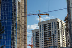 Inside place for many tall buildings under construction Stock Photos