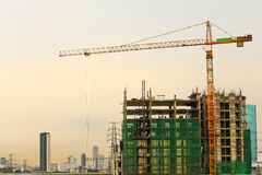 Inside place for  tall buildings under construction and cranes u Stock Photo