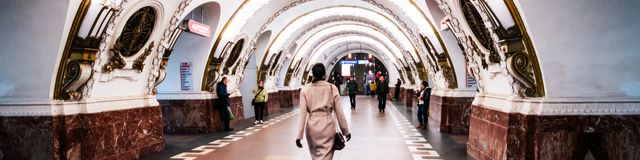 Inside Ploshchad Vosstaniya metro station in Saint Petersburg, Russia. ST PETERSBURG, RUSSIA - MARCH 20, 2017: Inside Ploshchad Vosstaniya metro station - one Stock Image