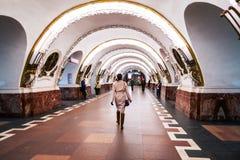 Inside Ploshchad Vosstaniya metro station in St Petersbirg, Russia. ST PETERSBURG, RUSSIA - MARCH 20, 2017: Inside Ploshchad Vosstaniya metro station - one of Royalty Free Stock Photo