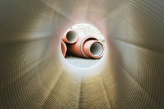 Inside of plumbing tube stock photos