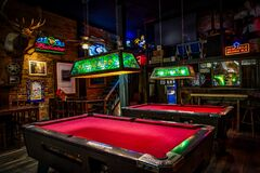 Inside pool hall Royalty Free Stock Image