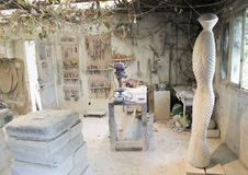 Inside portion of the studio of the world-renowned limestone artist, Renzo Buttazzo. Picture is an inside work room in the studio of the world-renowned limestone Stock Photography