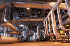 Inside of power plant. Boilers and pipes on power plant Royalty Free Stock Photography
