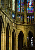 Inside Praha Cathedral. Gothic cathedral in old center of Prague, St Vitus Cathedral Stock Photos