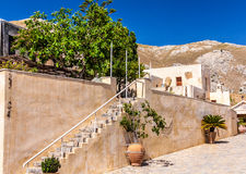 Inside Preveli monastery. Inner yard of Preveli monastery. Crete, Greece Stock Photo