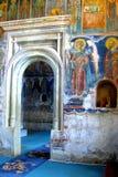 Inside Probota Monastery, medieval orthodox monastery in Moldavia, Romania Royalty Free Stock Photography