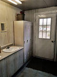 Inside public campground washroom house Stock Photos